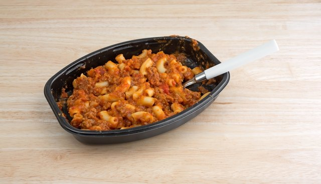 Beef and Macaroni TV dinner with spoon