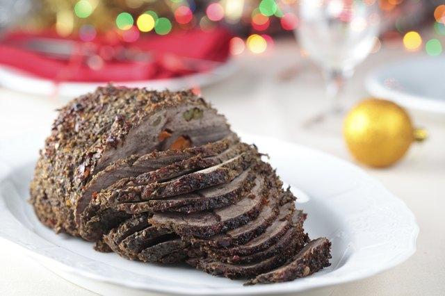 Roast beef on the Christmas table
