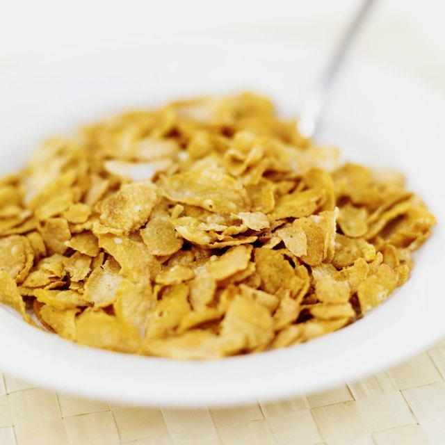 close-up of a bowl of corn flakes
