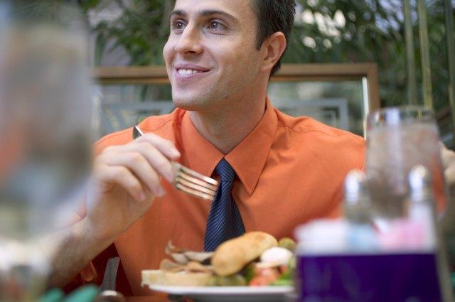 Businessman eating