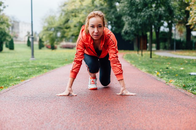 Woman preparing to run