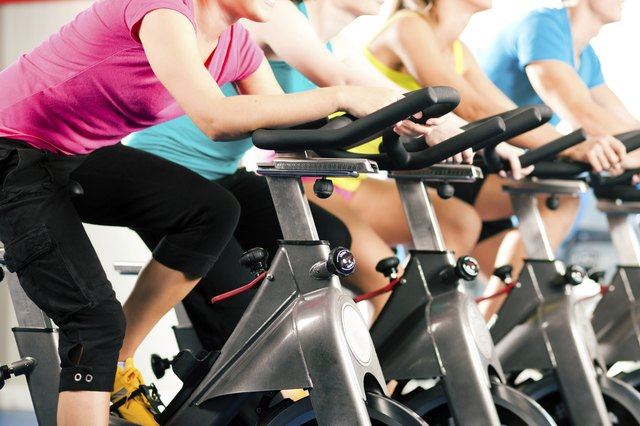 Indoor bycicle cycling in gym