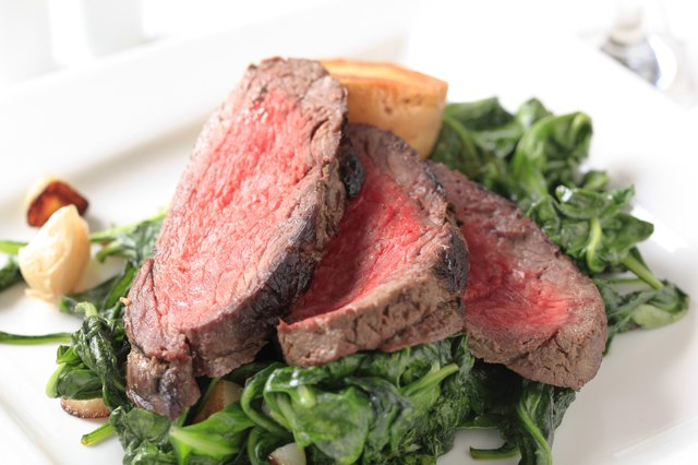 Roast beef  and sauteed spinach