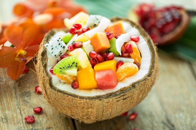 fruit salad in a coconut