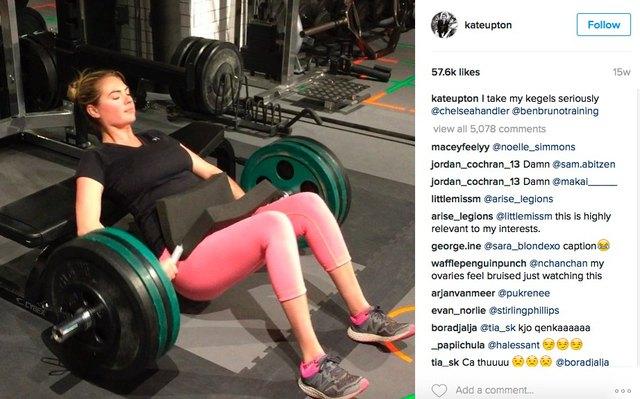 Kate Upton hip thrust in gym