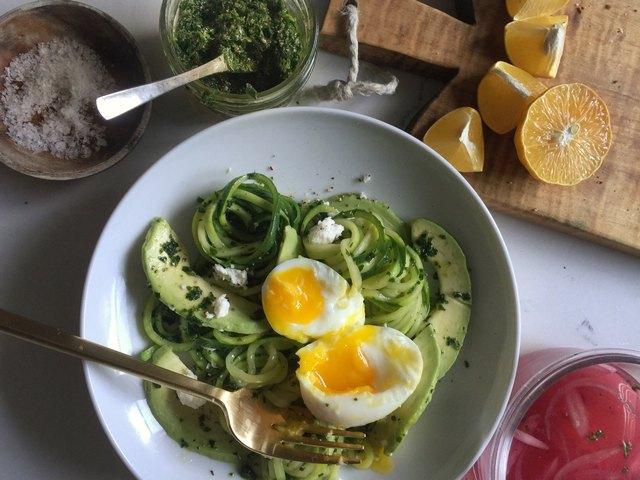 Pesto Zucchini Noodle Pasta With Avocado and Soft-Boiled Eggs