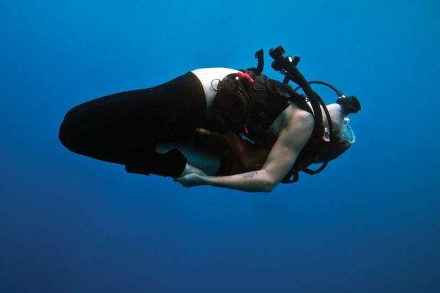 Underwater yoga practice