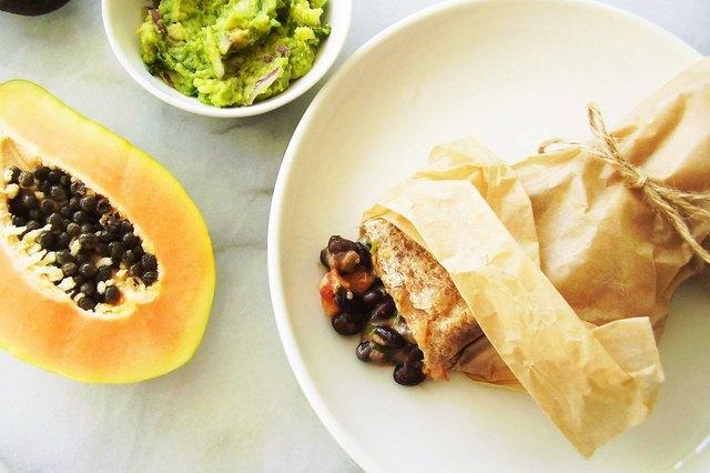 Tropical Black Bean, Cheese and Papaya Burrito