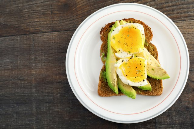 Poached egg and avocado on toast.