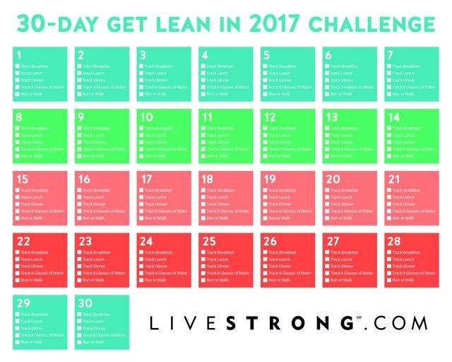 30-Day Get Lean in 2017 Challenge Calendar