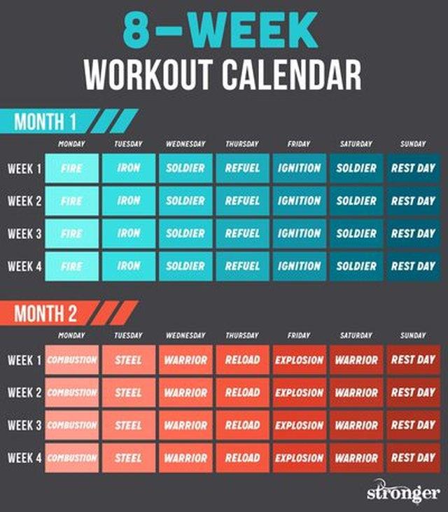 8-week stronger workout calendar
