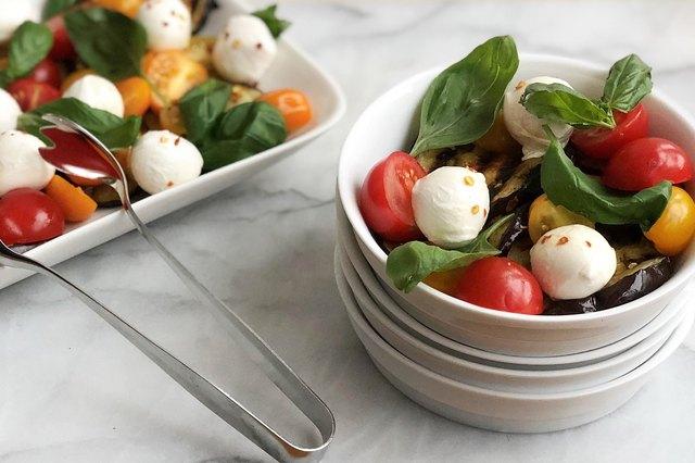 Grilled Italian Eggplant Caprese Salad