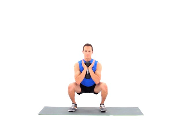 Proper form for a goblet squat.