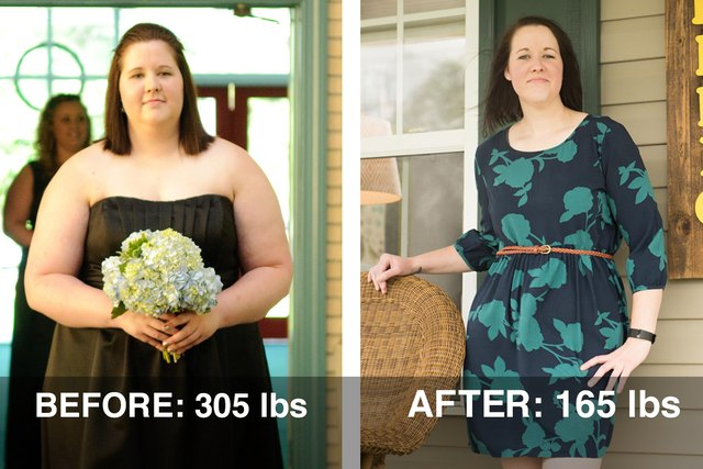 Lacey's before and after photos.