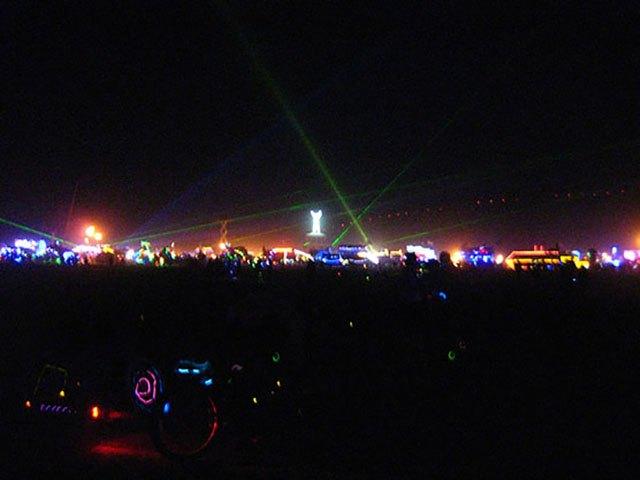 Black Rock City at night