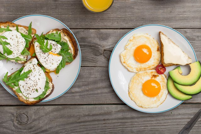 Poached eggs on toast and sunnyside up eggs with avocado.