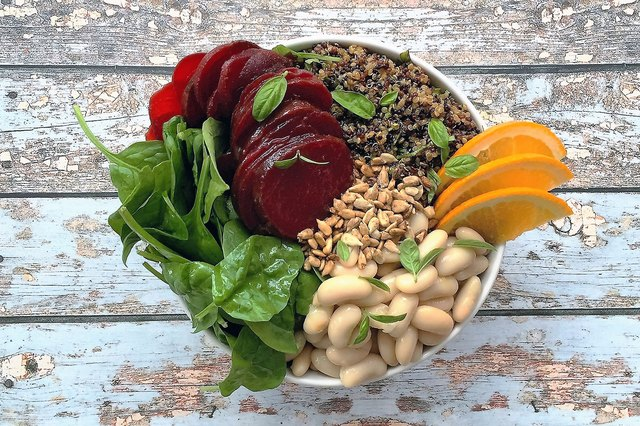 Spinach, Beet and White Bean Bowl