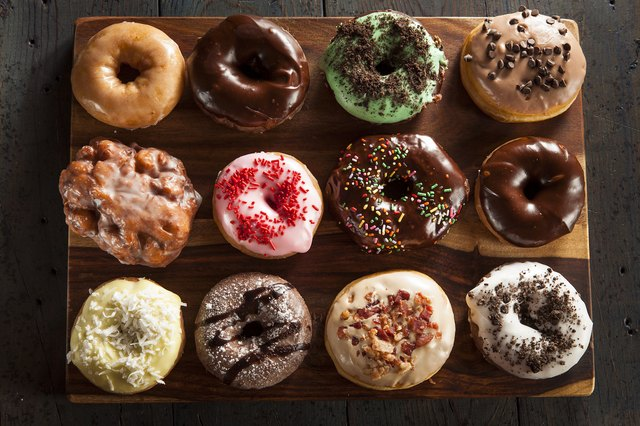 There's an aerial view of gourmet donuts (packed with gluten!).