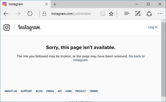 """Page Isn't Available"" message from Instagram"