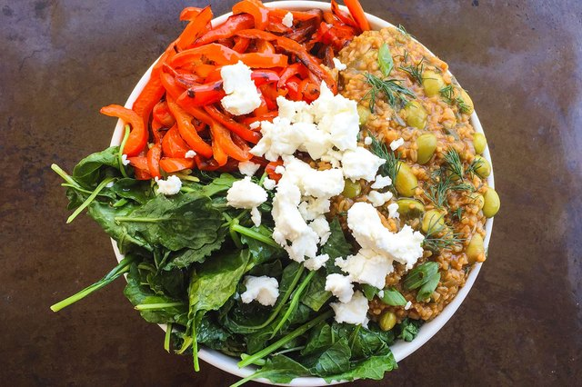 Savory Greens and Goat Cheese Oatmeal Breakfast Superfood Bowl