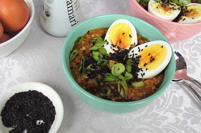 Asian-Style Oatmeal With Egg, Scallions and Tamari Savory Oatmeal Recipe