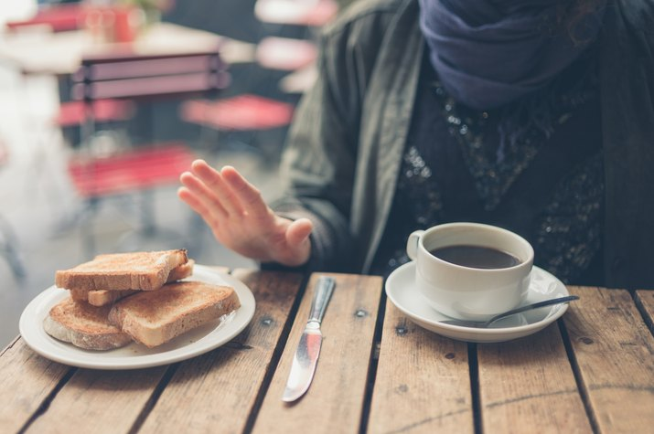 no thanks to the bread at a coffee shop cafe