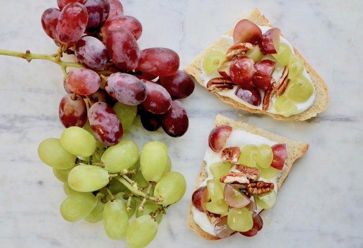 Grape Bruschetta on a marble tabletop