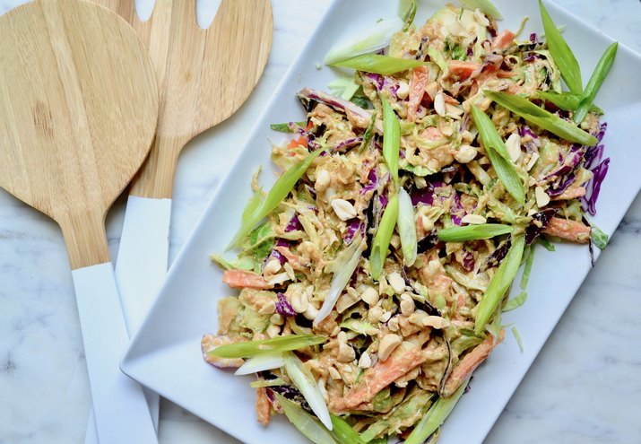 Cruciferous Trio With Peanut Ginger Lime Dressing