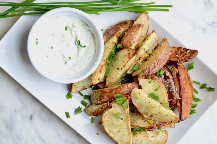 Asiago Roasted Potato Wedges With Sour Cream and Chives