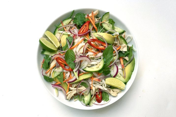 chicken vegetable rice noodle salad