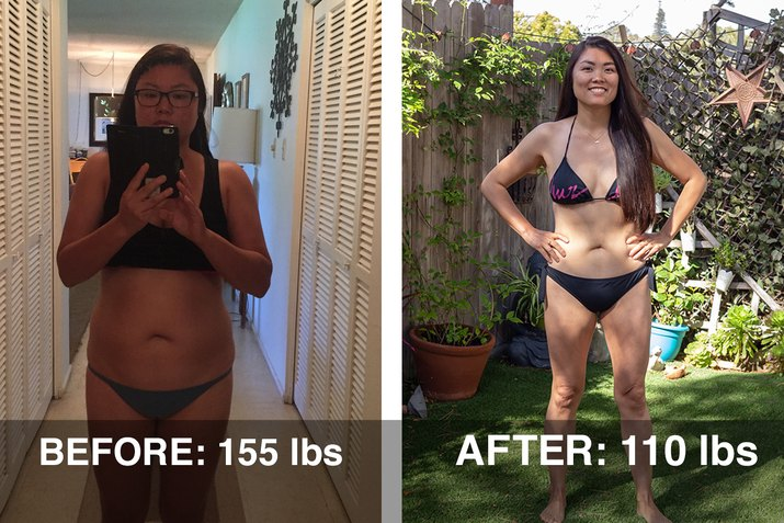 Kristina's before and after photos.