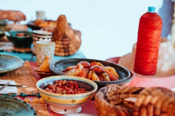 Moroccan food on table