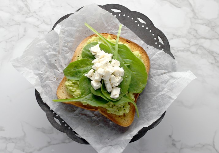 Spinach and feta avocado toast on keto bread