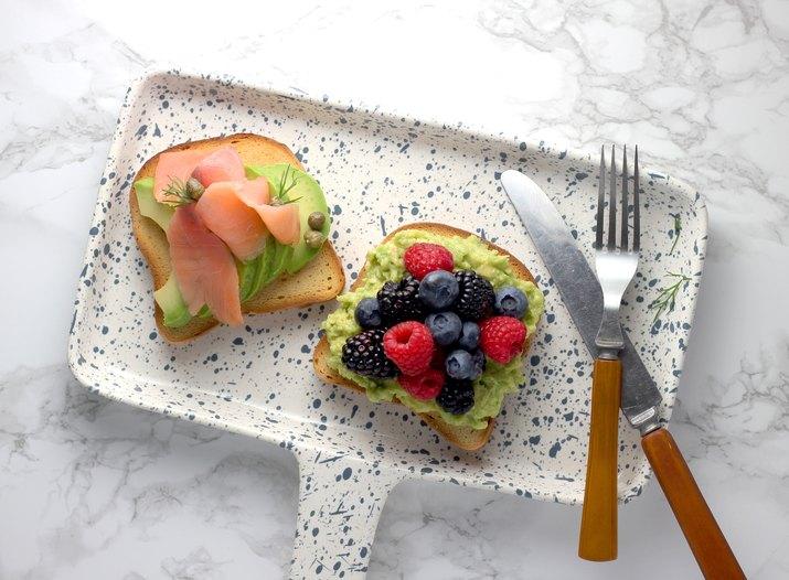 Keto avocado toast overhead