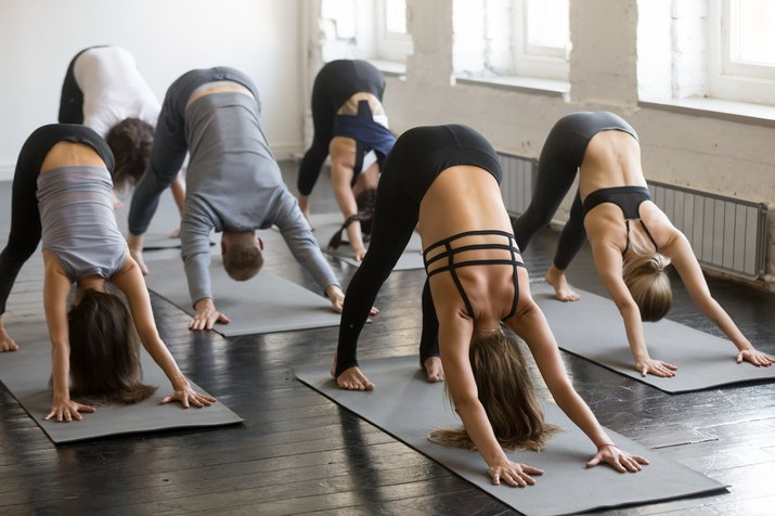 Group of young sporty people in Downward facing dog pose