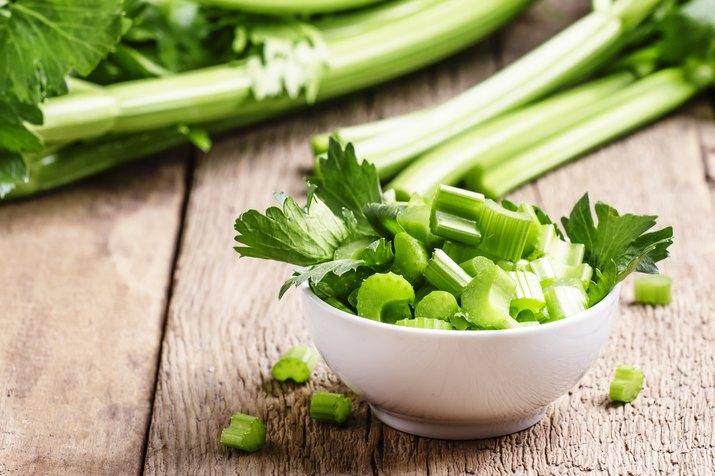 Fresh sliced celery in a white bowl