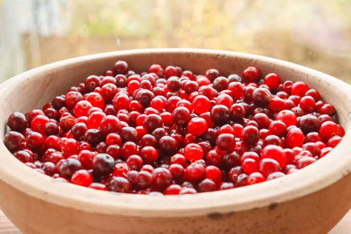 Red berries in a wooden bowl