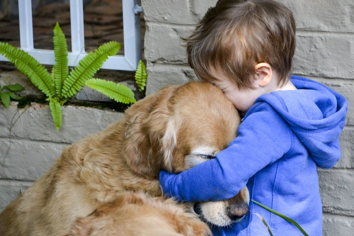 Little boy hugging his dog golden retriever