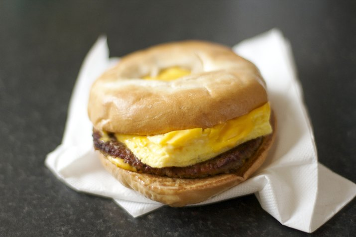 Omelet and Sausage Bagel
