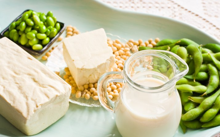 Soy Milk and Soybean Products Arranged On An Aqua Tray