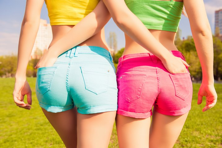 Close-up photo of beautiful, shapely women in shorts