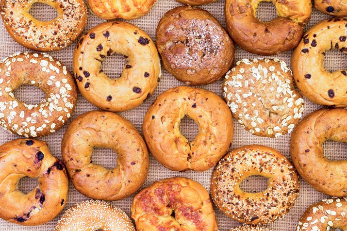 Assorted bagels as an example of foods that cause bloating