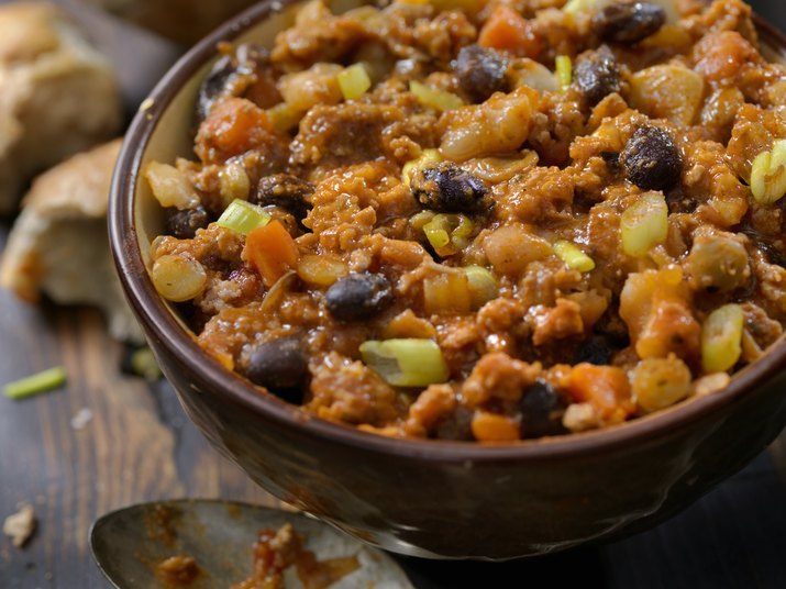 Close View of Three Bean Chili with Lentils