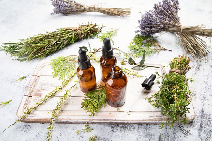 Bottles with organic essential aroma oil