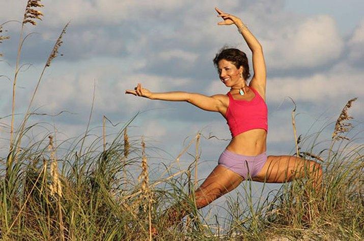 Yoga Warrior II Pose in Maui Hawaii
