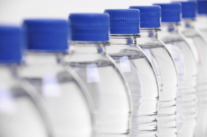 water bottle lids blurred