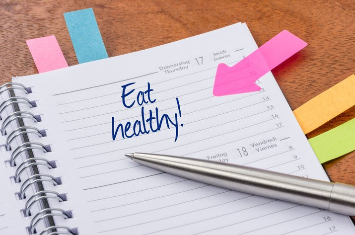 Daily planner with the entry Eat healthy