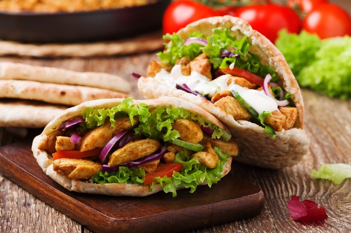 Roasted chicken and vegetables, served in pita.