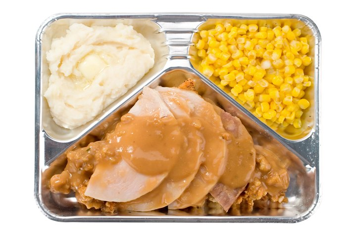 TV dinner with turkey and gravy, mashed potatoes, and corn