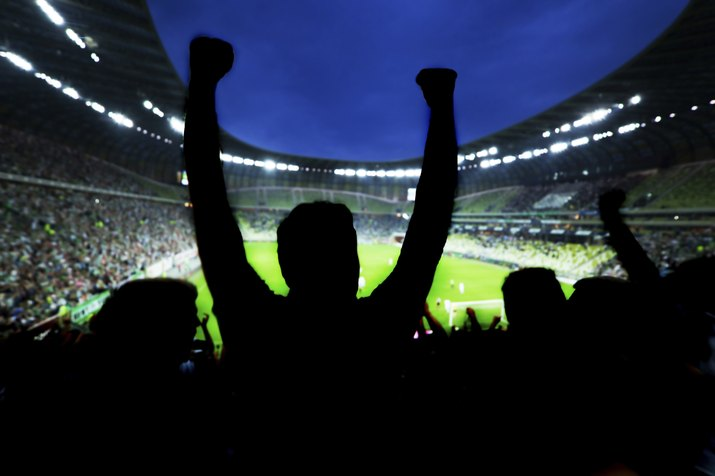Football, soccer fans support their team and celebrate